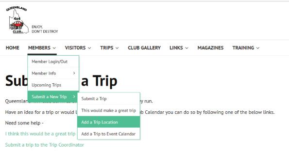 How to add a location to the Trip Event Calendar